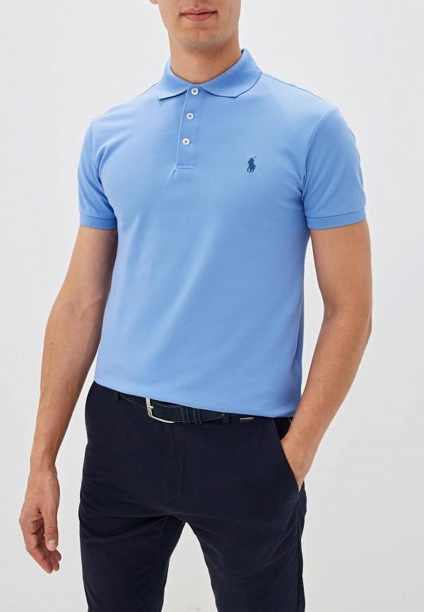 мужское поло polo ralph lauren, голубое