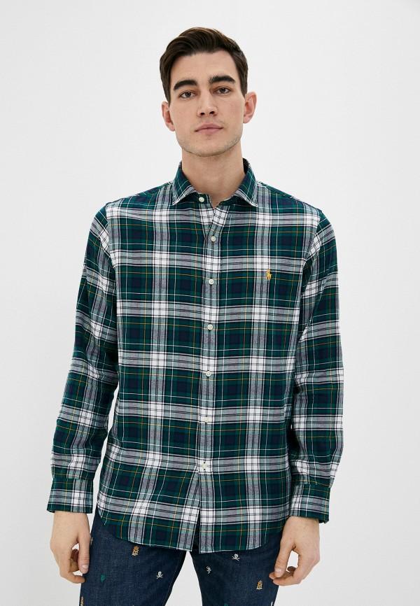 мужская рубашка с длинным рукавом polo ralph lauren, зеленая