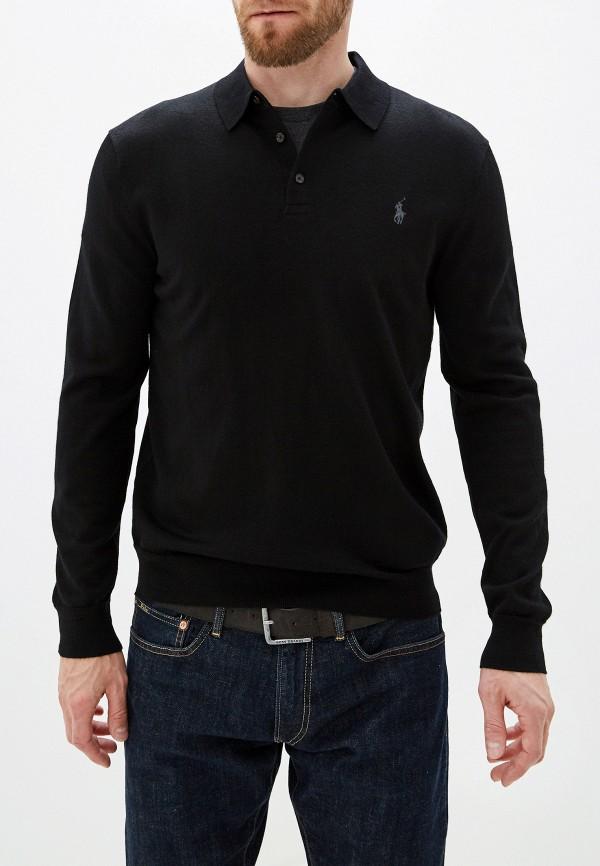мужское поло с длинным рукавом polo ralph lauren, черное
