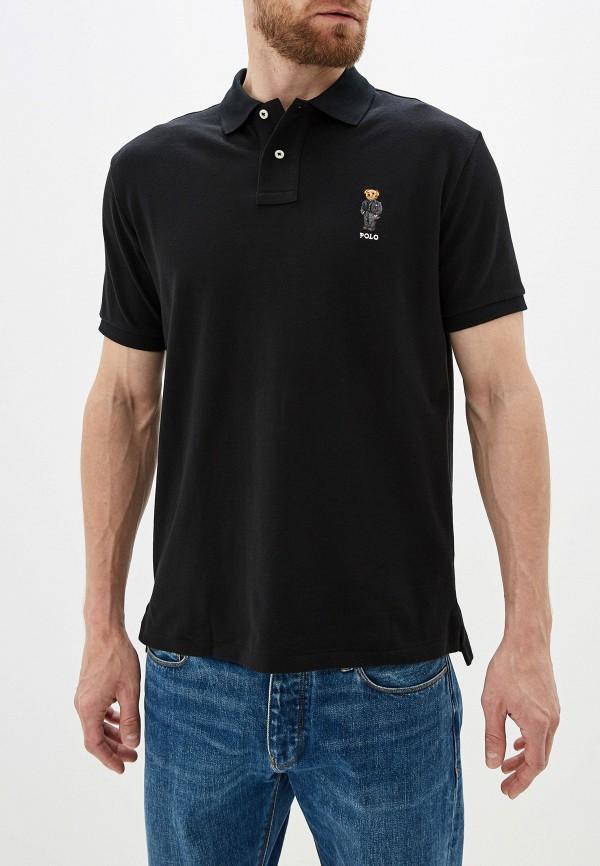 мужское поло с коротким рукавом polo ralph lauren, черное