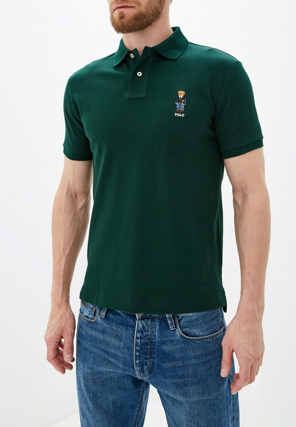 мужское поло с коротким рукавом polo ralph lauren, зеленое