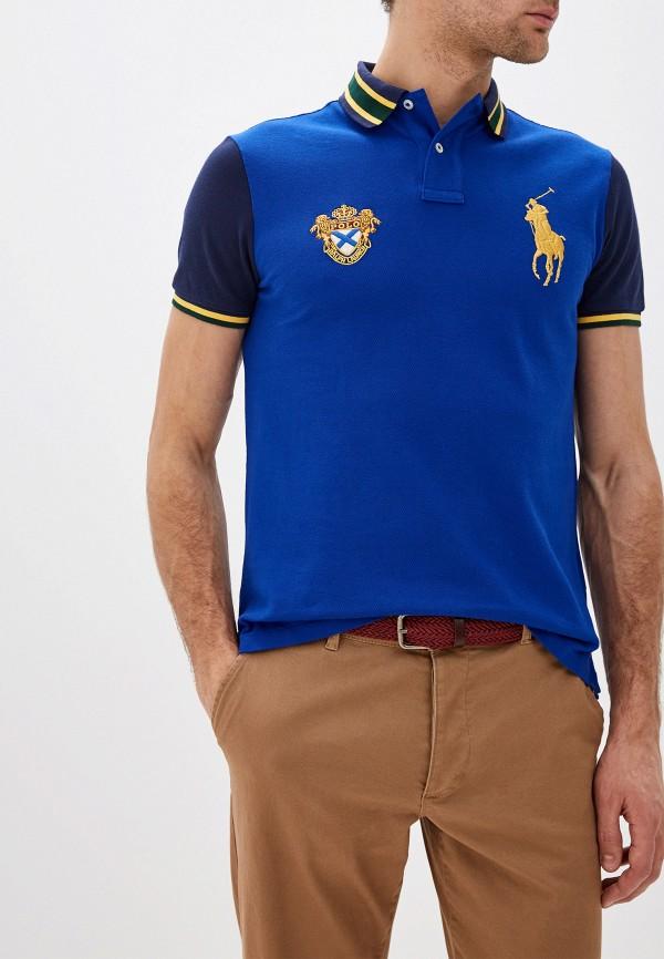 мужское поло с коротким рукавом polo ralph lauren, синее