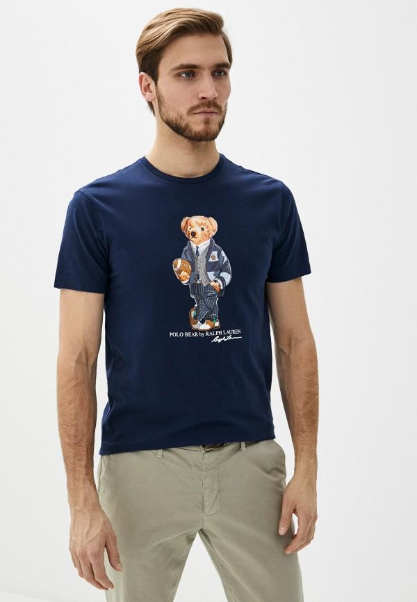 мужская футболка polo ralph lauren, синяя