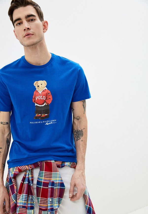 мужская футболка с коротким рукавом polo ralph lauren, синяя