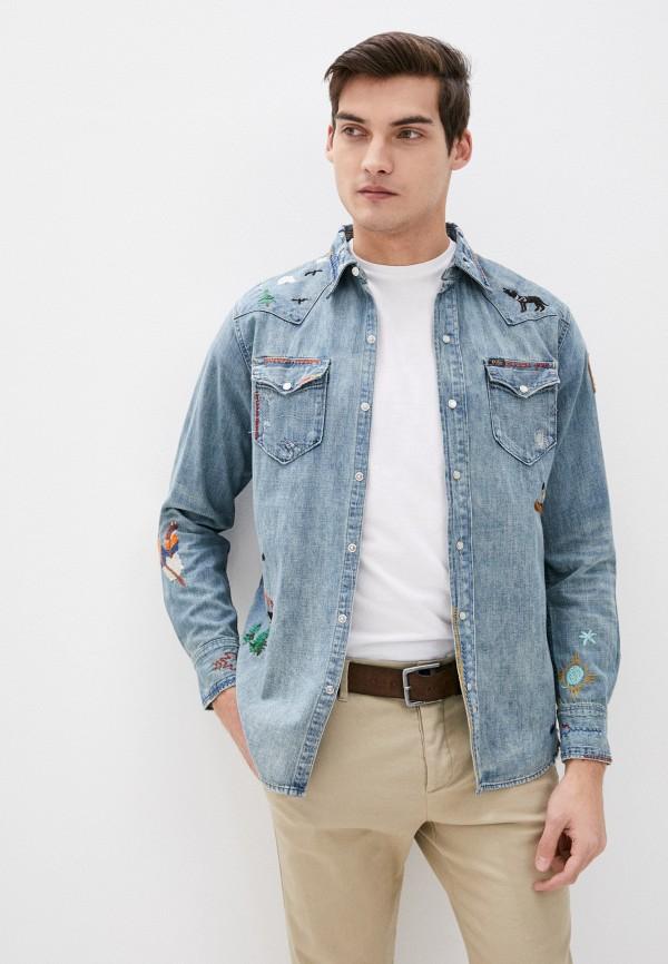 мужская джинсовые рубашка polo ralph lauren, голубая