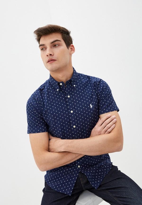 мужская рубашка с коротким рукавом polo ralph lauren, синяя