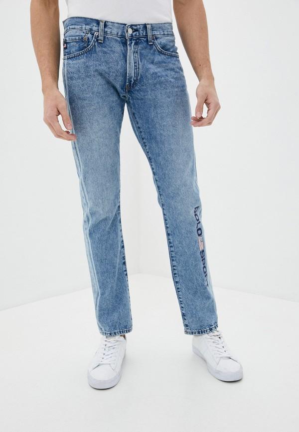 мужские зауженные джинсы polo ralph lauren, голубые