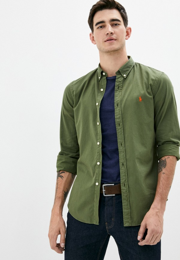 мужская рубашка с длинным рукавом polo ralph lauren, хаки
