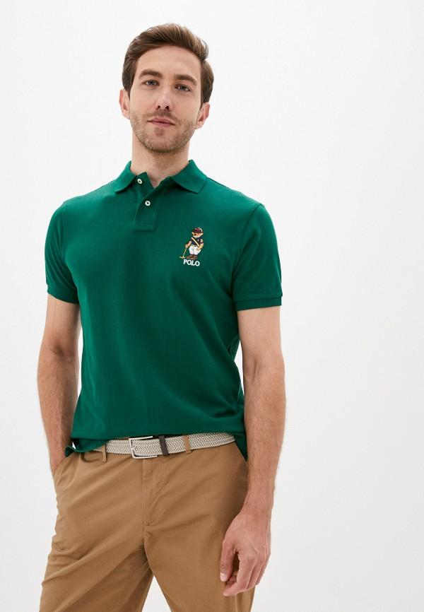 мужское поло polo ralph lauren, зеленое