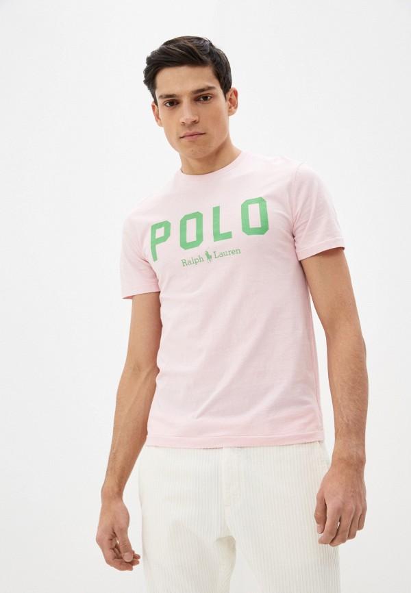 мужская футболка polo ralph lauren, розовая