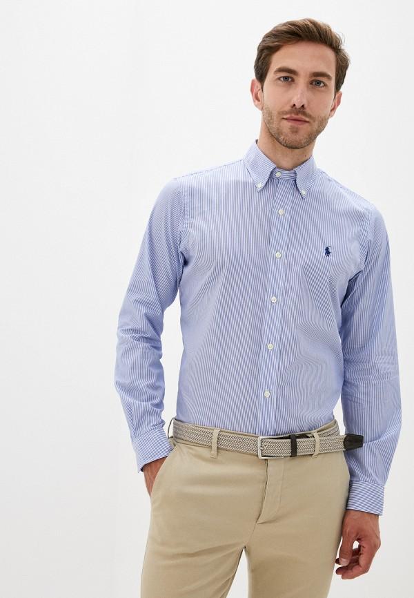 мужская рубашка с длинным рукавом polo ralph lauren, синяя