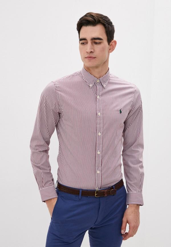 мужская рубашка с длинным рукавом polo ralph lauren, бордовая