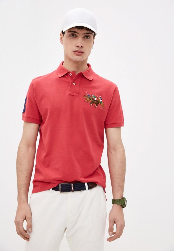 мужское поло с коротким рукавом polo ralph lauren, красное