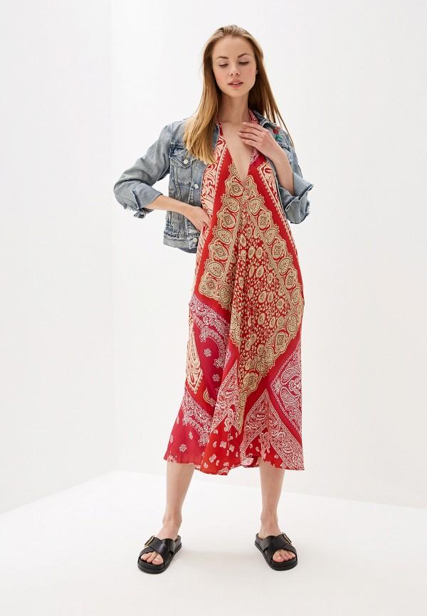 женское повседневные платье polo ralph lauren, красное