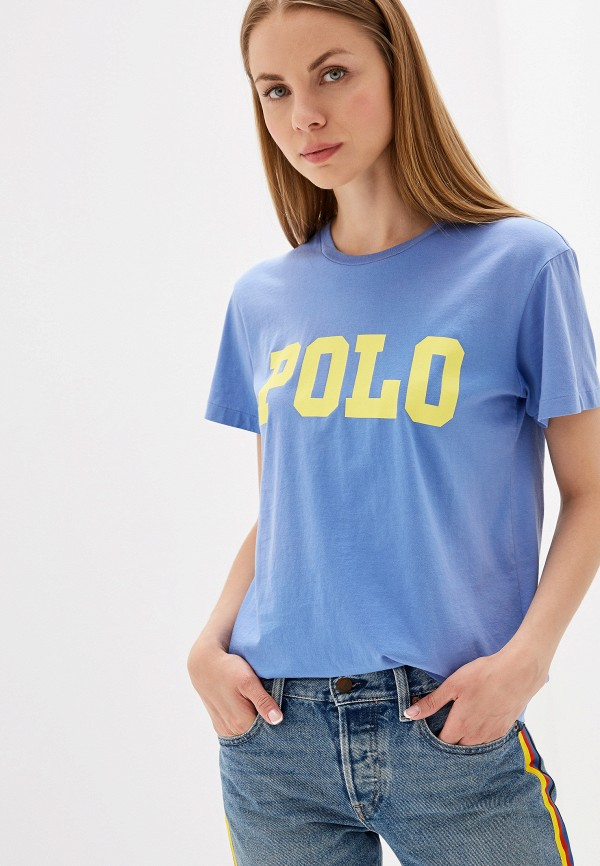 женская футболка polo ralph lauren, голубая