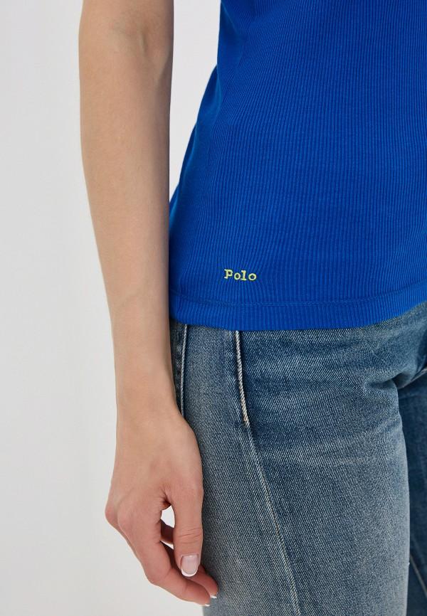 Фото 4 - женскую майку Polo Ralph Lauren синего цвета