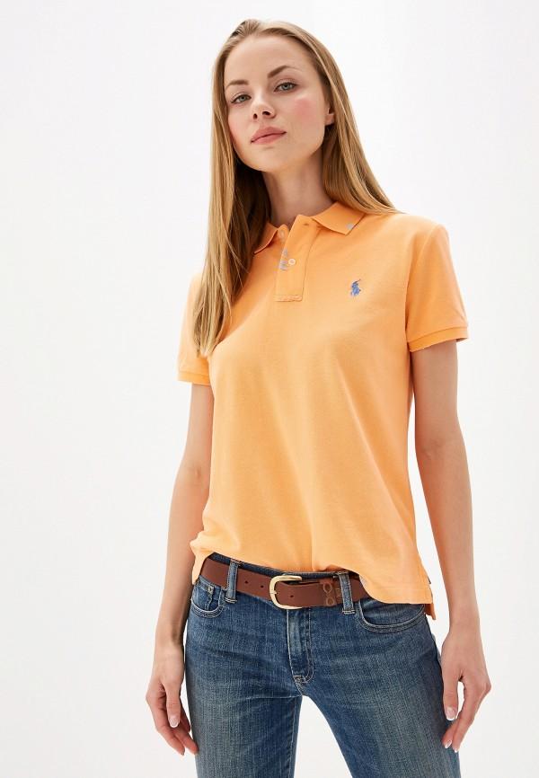 женское поло polo ralph lauren, оранжевое