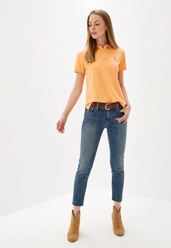 Фото 2 - женское поло Polo Ralph Lauren оранжевого цвета