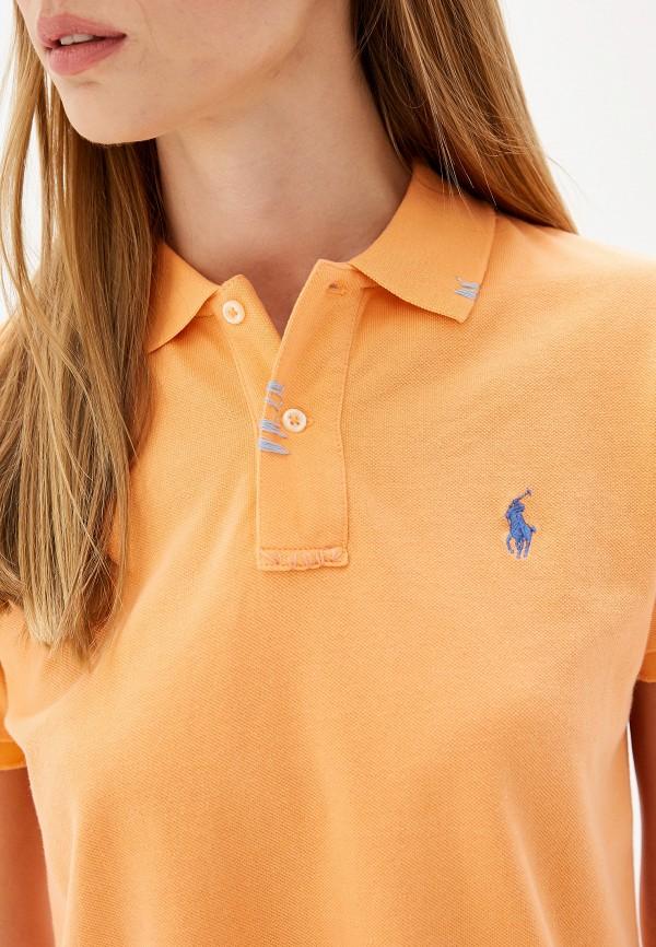 Фото 4 - женское поло Polo Ralph Lauren оранжевого цвета