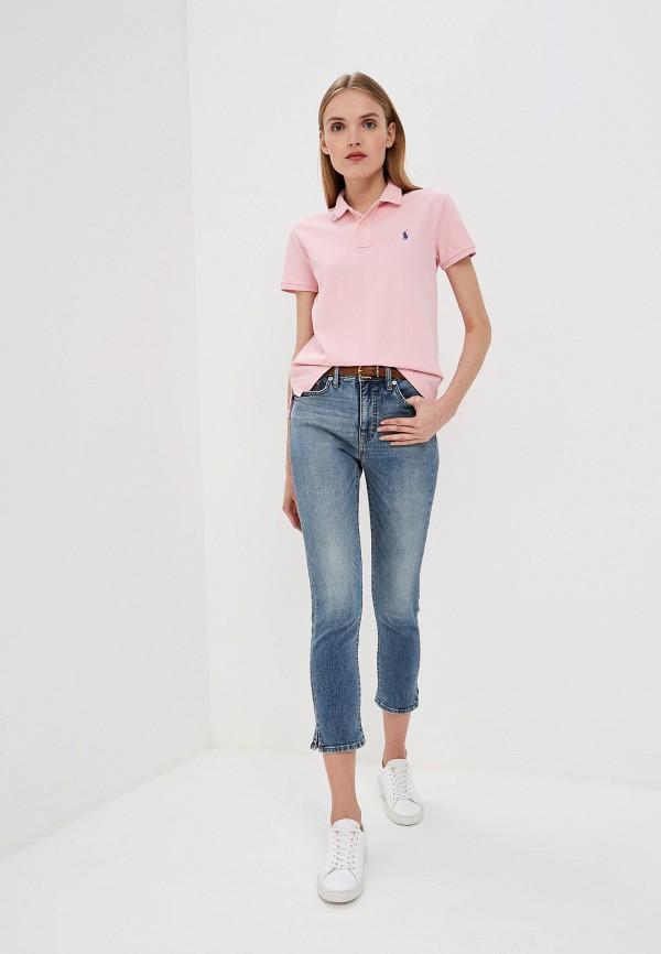 Фото 2 - женское поло Polo Ralph Lauren розового цвета