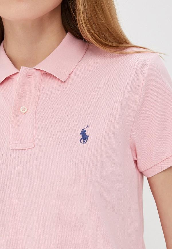 Фото 5 - женское поло Polo Ralph Lauren розового цвета