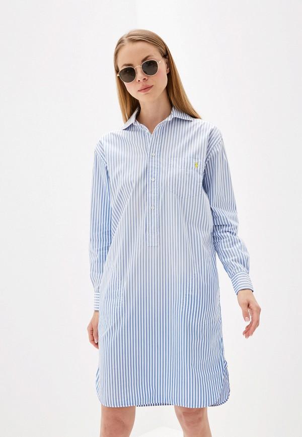 женское платье polo ralph lauren, голубое