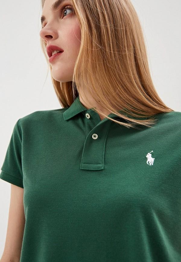Фото 4 - женское поло Polo Ralph Lauren зеленого цвета