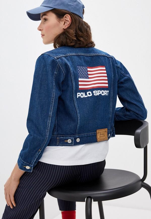 женская джинсовые куртка polo ralph lauren, синяя
