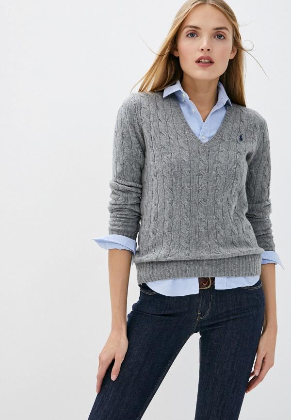 женский пуловер polo ralph lauren, серый