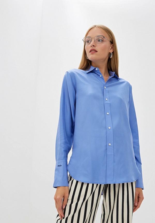 женская блузка polo ralph lauren, голубая