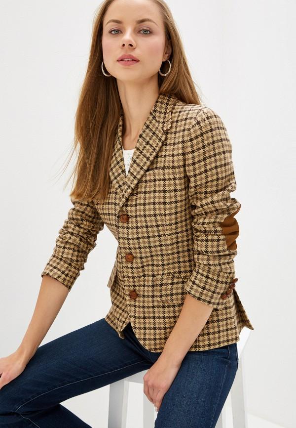 женский пиджак polo ralph lauren, коричневый