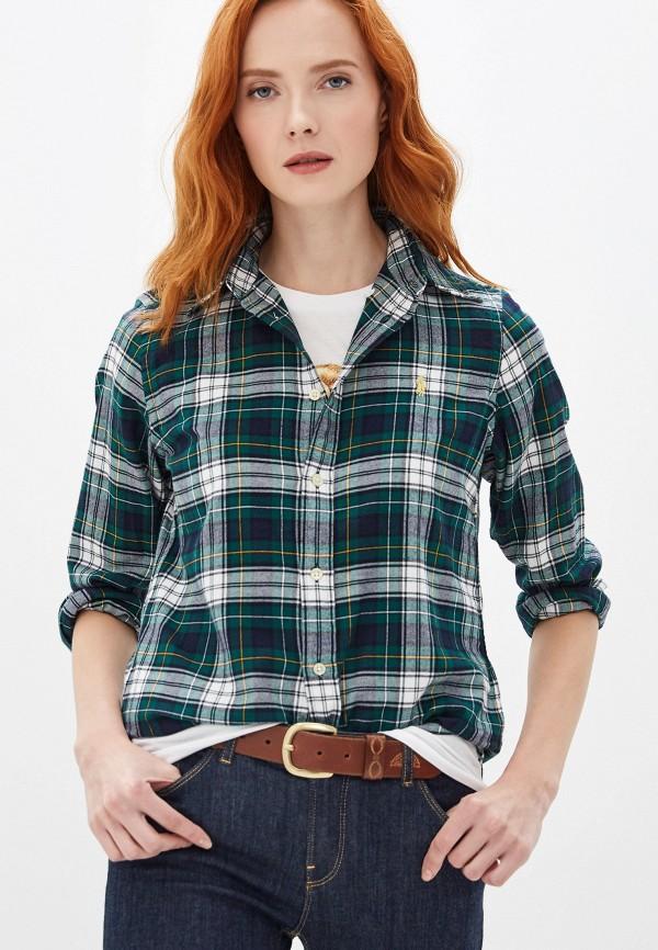 женская рубашка с длинным рукавом polo ralph lauren, зеленая