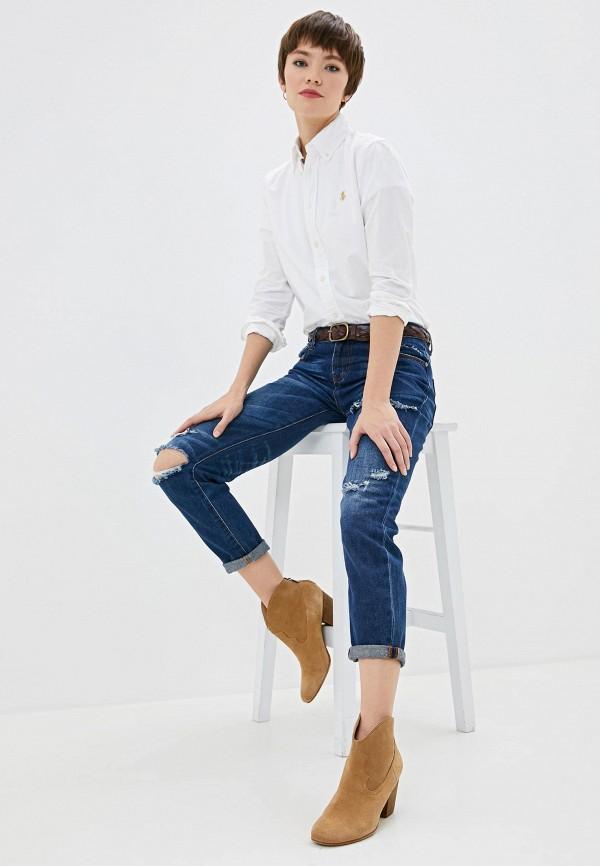Фото 3 - женскую рубашку Polo Ralph Lauren белого цвета