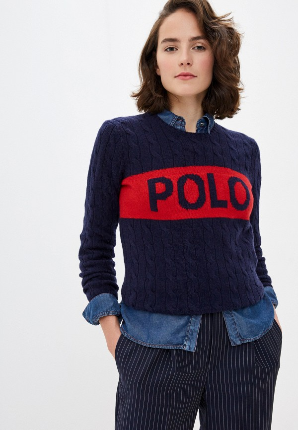 женский джемпер polo ralph lauren, синий