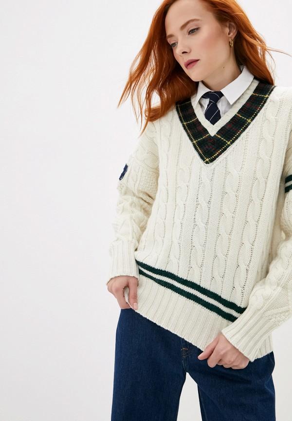 Фото 5 - женский пуловер Polo Ralph Lauren белого цвета