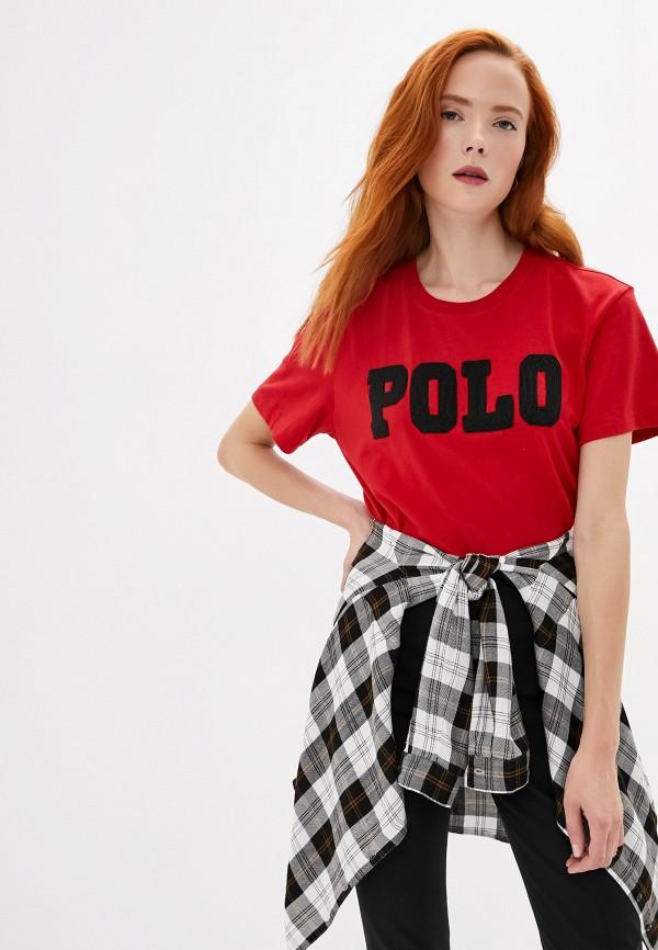 женская футболка polo ralph lauren, красная