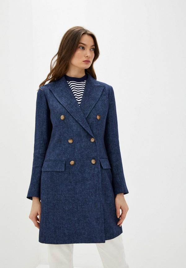 женский пиджак polo ralph lauren, синий