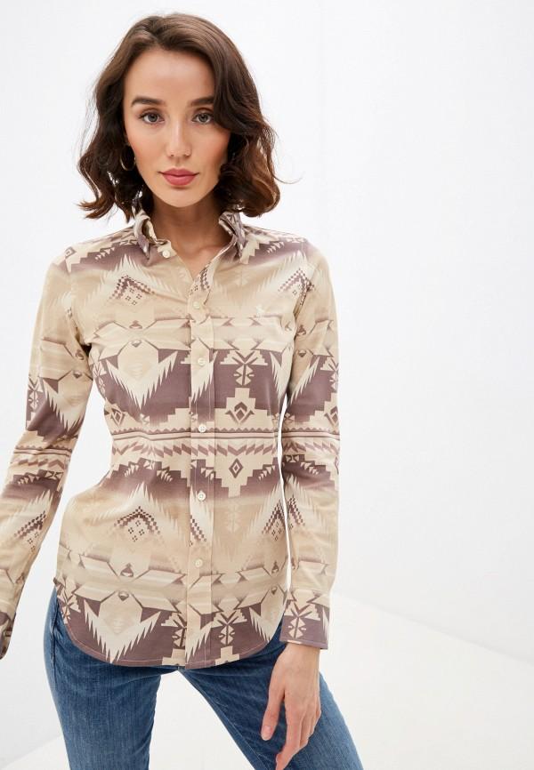 женская рубашка с длинным рукавом polo ralph lauren, бежевая
