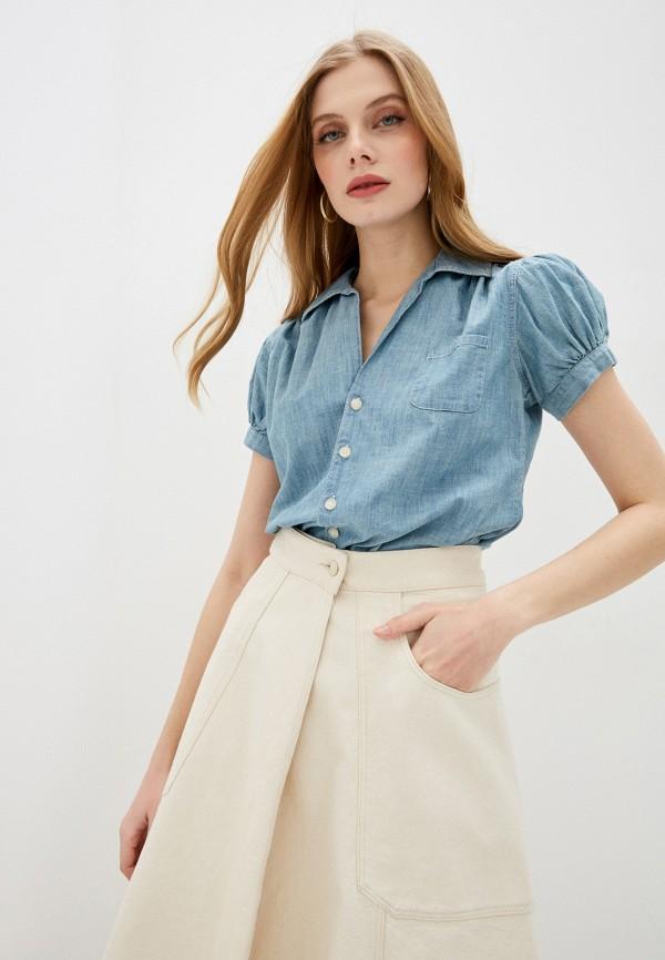 женская рубашка с коротким рукавом polo ralph lauren, синяя