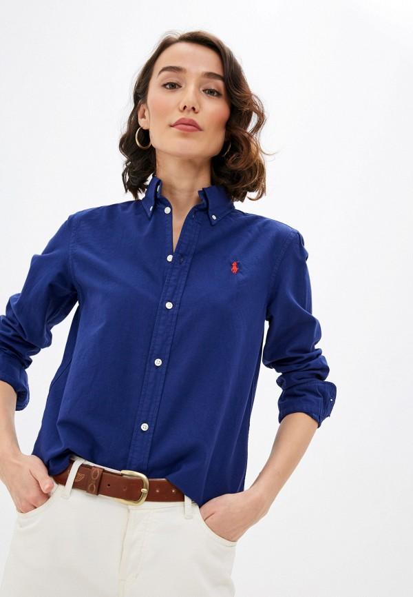 женская рубашка с длинным рукавом polo ralph lauren, синяя