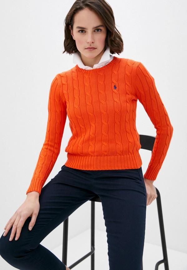 женский джемпер polo ralph lauren, оранжевый