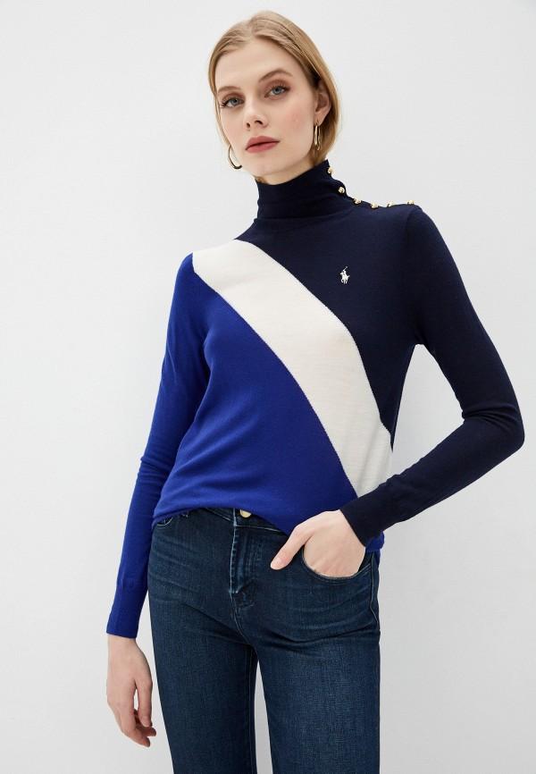 женская водолазка polo ralph lauren, синяя