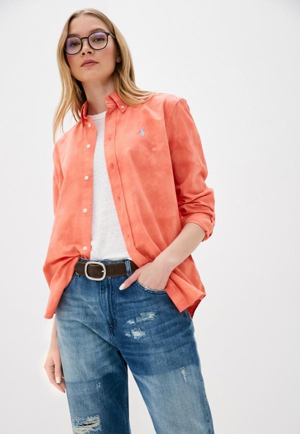женская рубашка с длинным рукавом polo ralph lauren, оранжевая