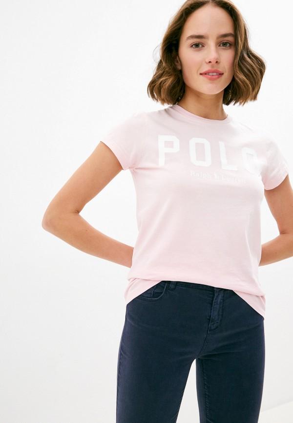 женская футболка polo ralph lauren, розовая