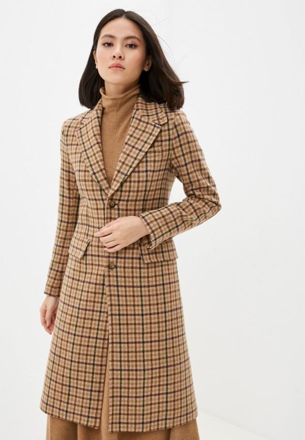 женское пальто polo ralph lauren, коричневое