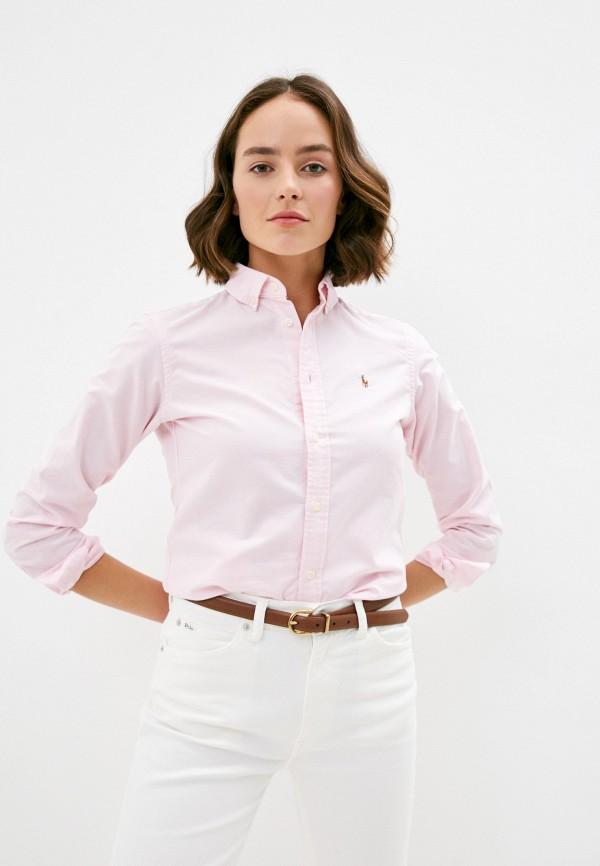 женская рубашка с длинным рукавом polo ralph lauren, розовая