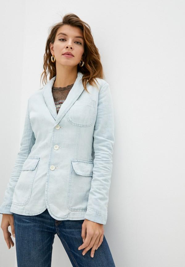 женский пиджак polo ralph lauren, голубой