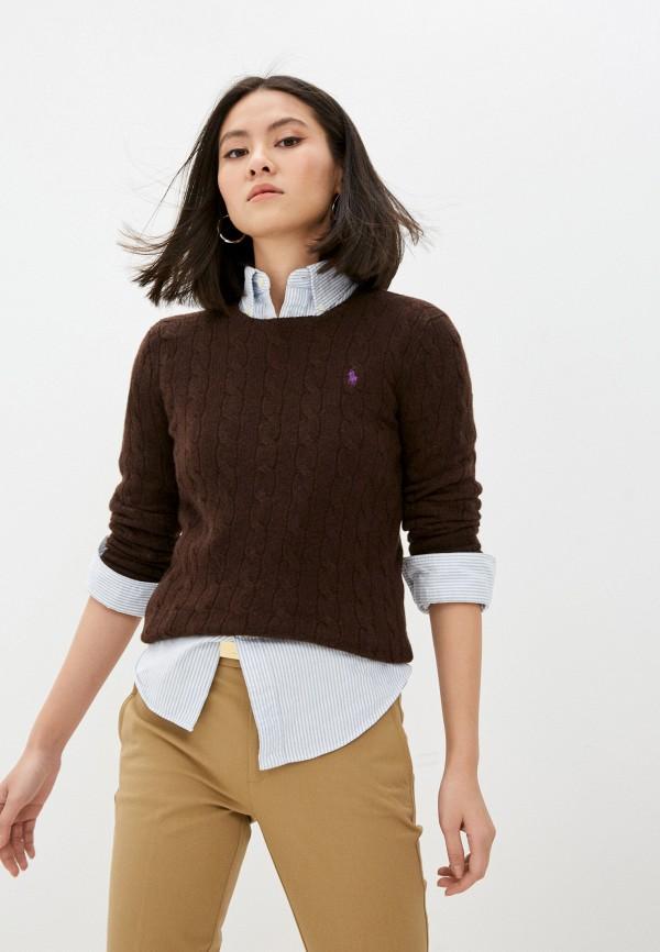 женский джемпер polo ralph lauren, коричневый
