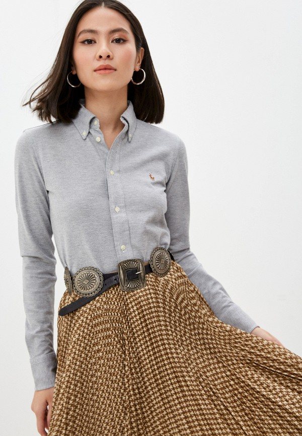 женская рубашка с длинным рукавом polo ralph lauren, серая