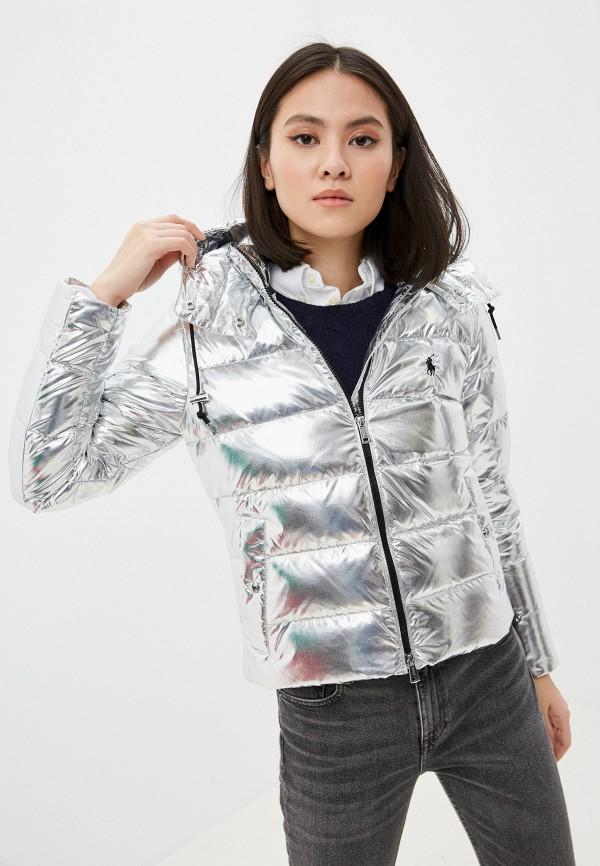 женская куртка polo ralph lauren, серебряная